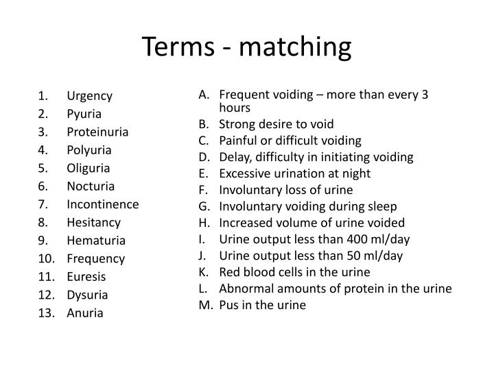 Terms - matching