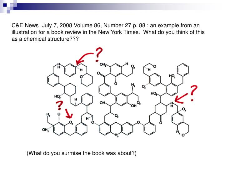 C&E News  July 7, 2008 Volume 86, Number 27 p. 88 : an example from an illustration for a book review in the New York Times.  What do you think of this as a chemical structure???
