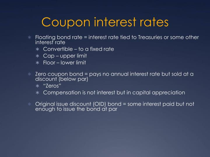 Coupon interest rates
