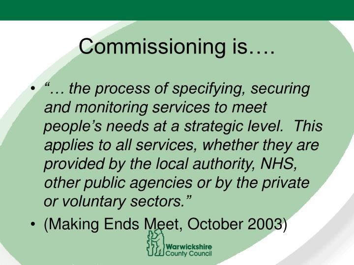 Commissioning is….