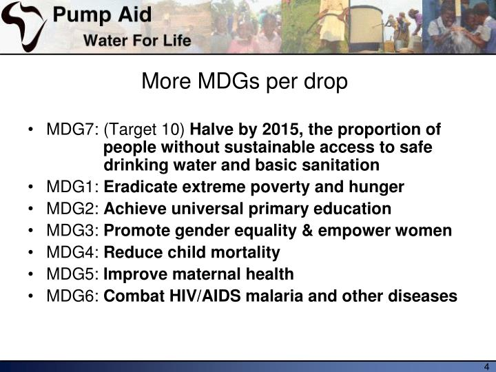 More MDGs per drop
