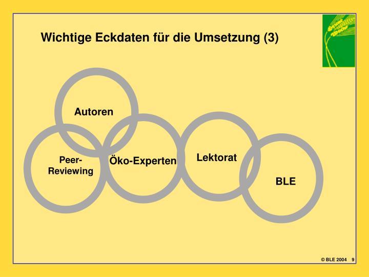 Wichtige Eckdaten für die Umsetzung (3)