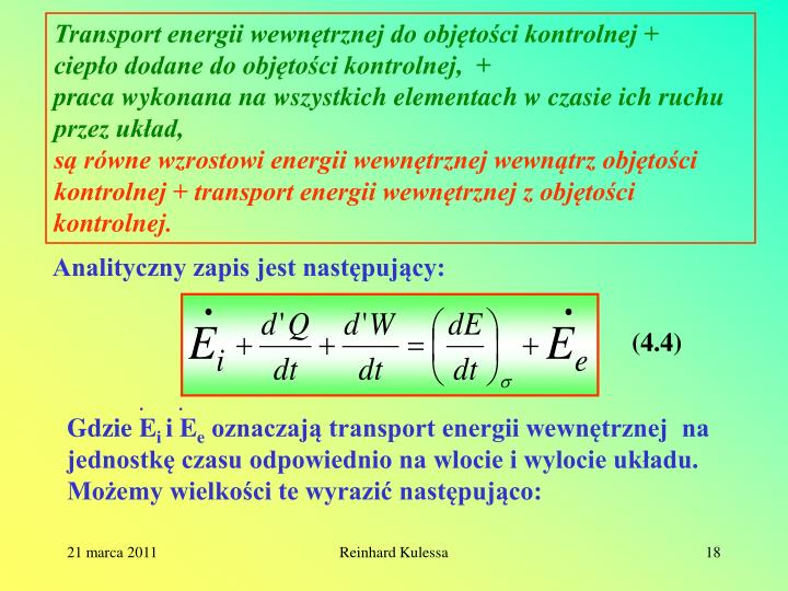 Transport energii wewnętrznej do objętości kontrolnej +