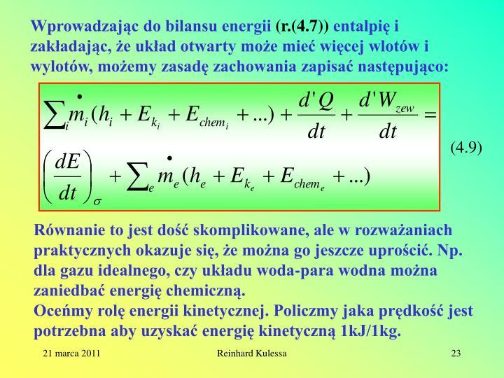 Wprowadzając do bilansu energii