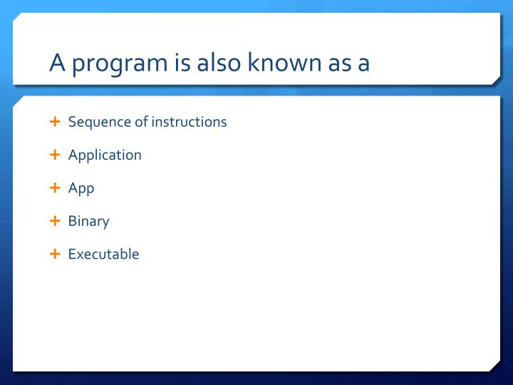 A program is also known as a