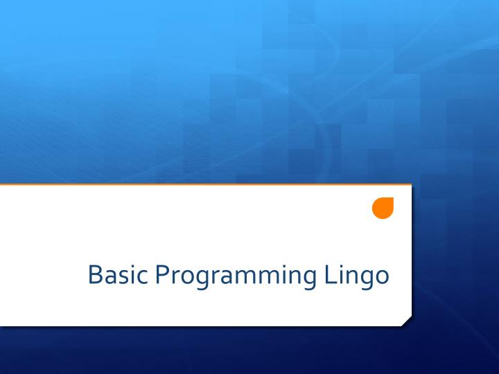 Basic Programming Lingo