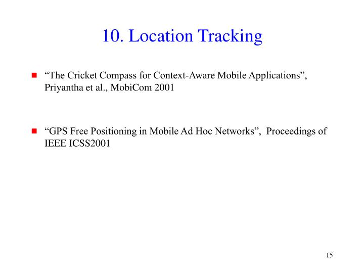 10. Location Tracking