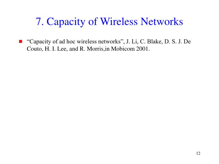 7. Capacity of Wireless Networks