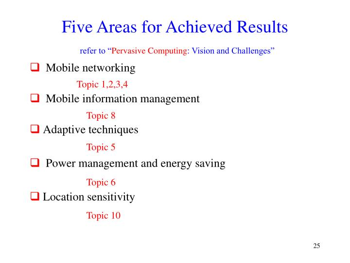 Five Areas for Achieved Results