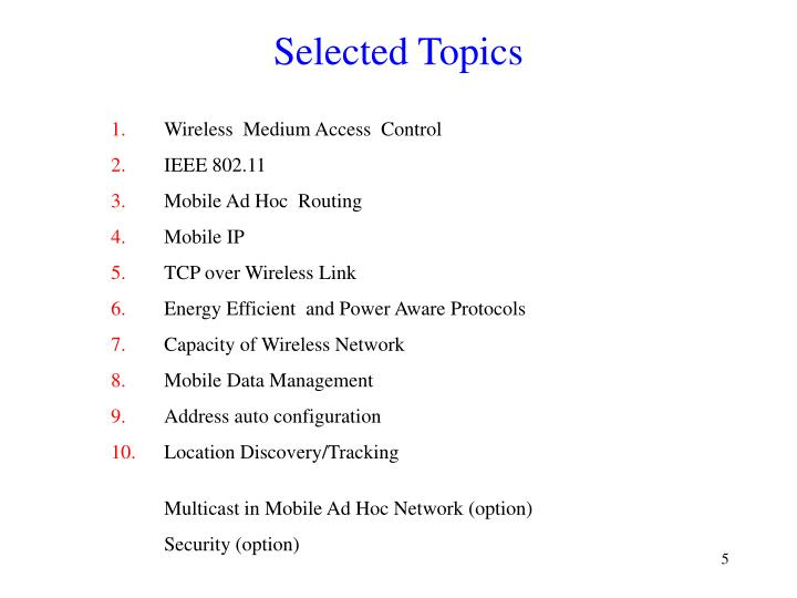 Selected Topics
