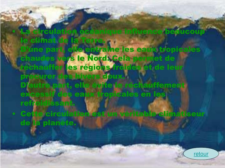 La circulation ocanique influence beaucoup le climat de la Terre.