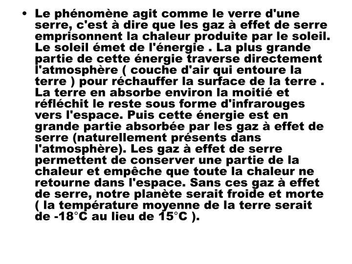 Le phnomne agit comme le verre d'une serre, c'est  dire que les gaz  effet de serre emprisonnent la chaleur produite par le soleil.