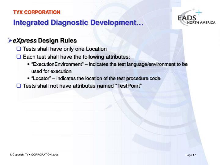 Integrated Diagnostic Development…