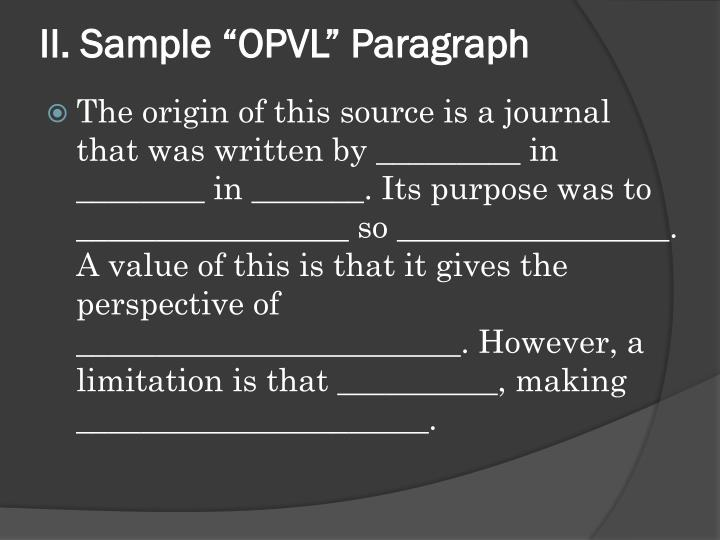 "II. Sample ""OPVL"" Paragraph"