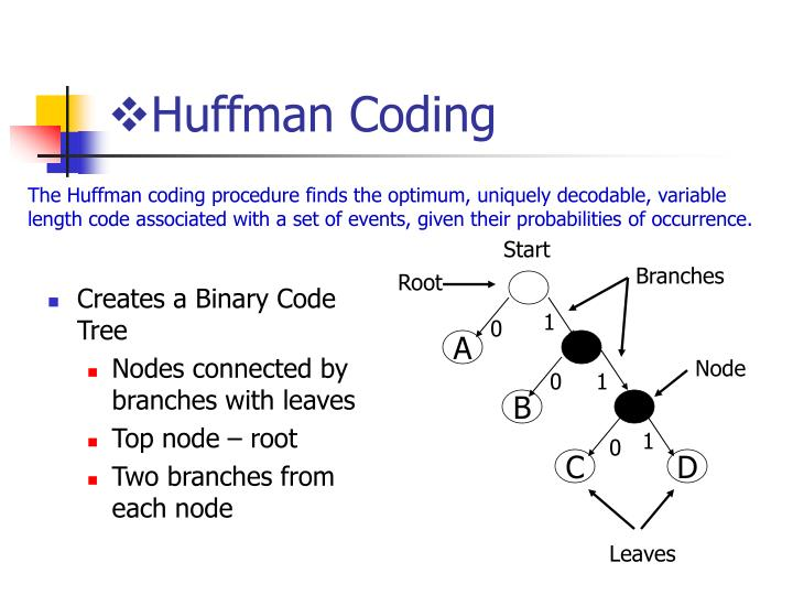 Creates a Binary Code Tree