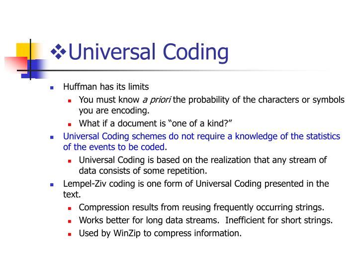 Universal Coding