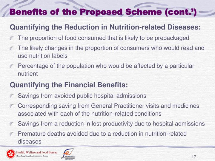 Benefits of the Proposed Scheme