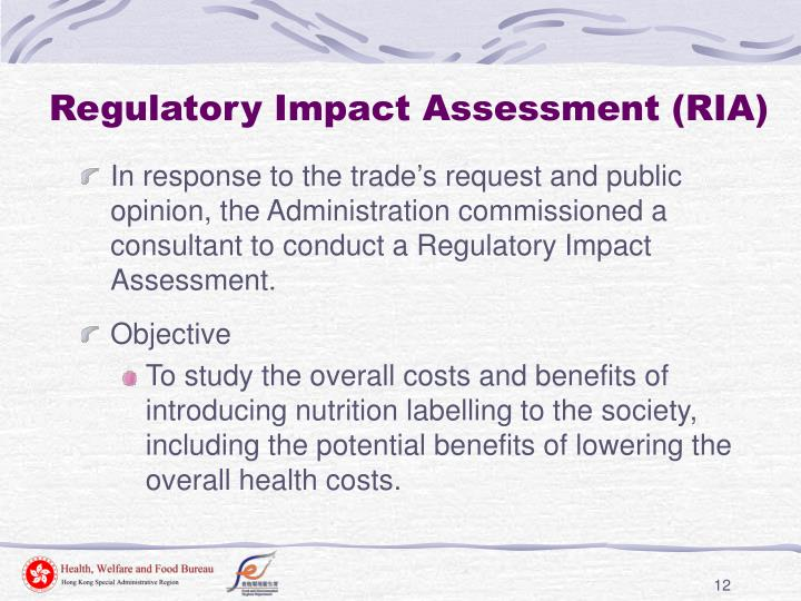 Regulatory Impact Assessment (RIA)