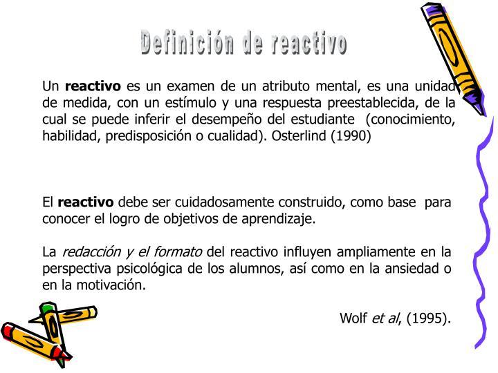 Definición de reactivo