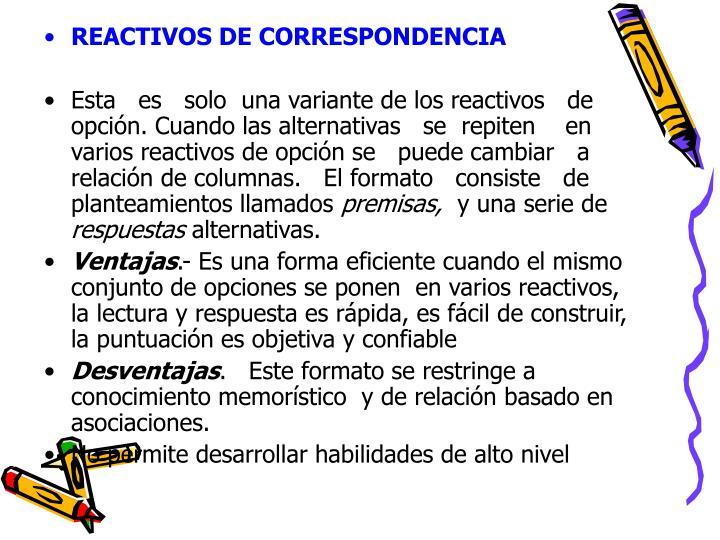 REACTIVOS DE CORRESPONDENCIA