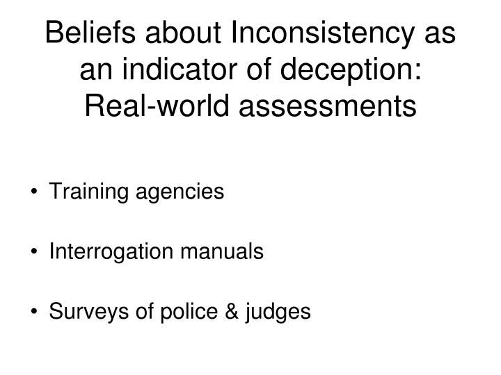 Beliefs about Inconsistency as an indicator of deception: