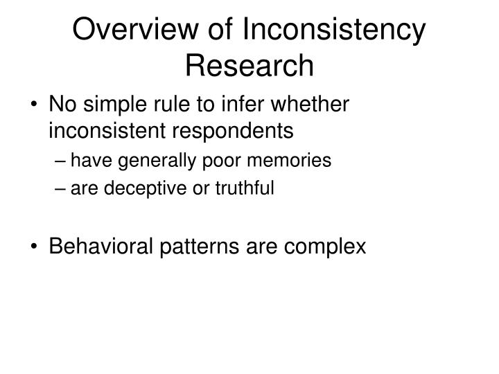 Overview of Inconsistency Research
