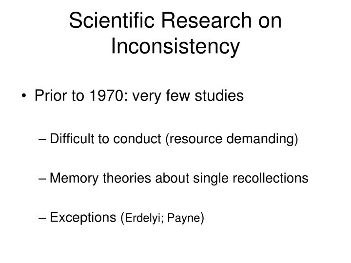 Scientific Research on Inconsistency