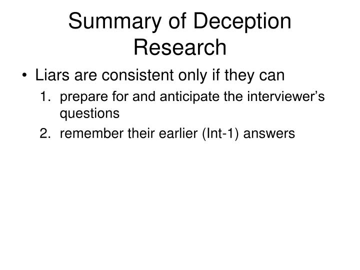 Summary of Deception Research