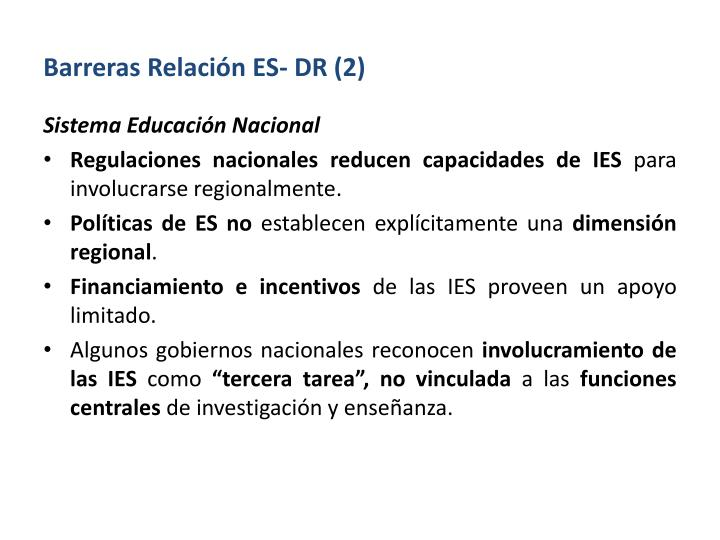 Barreras Relación ES- DR