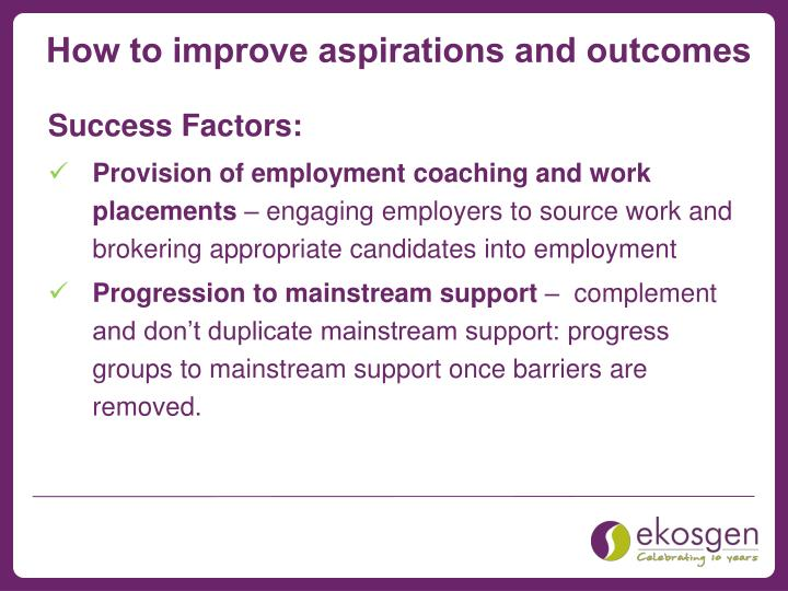 How to improve aspirations and outcomes