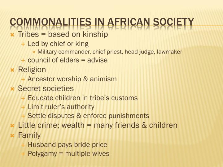Commonalities in african society