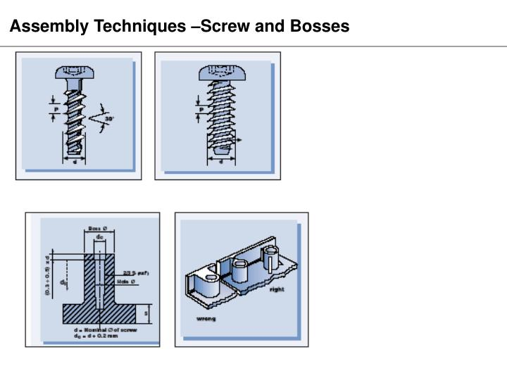 Assembly Techniques –Screw and Bosses