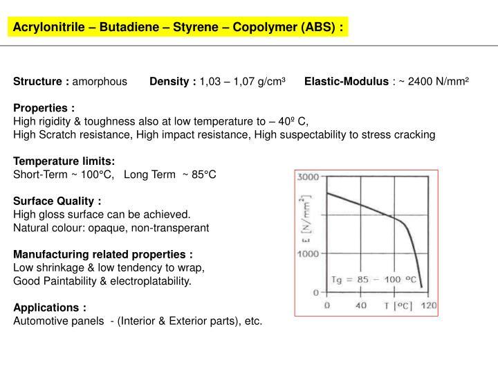 Acrylonitrile – Butadiene – Styrene – Copolymer (ABS) :