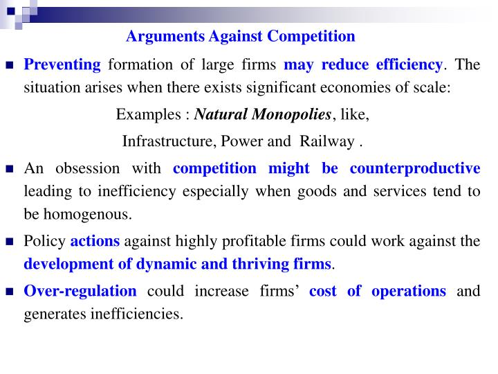 Arguments Against Competition