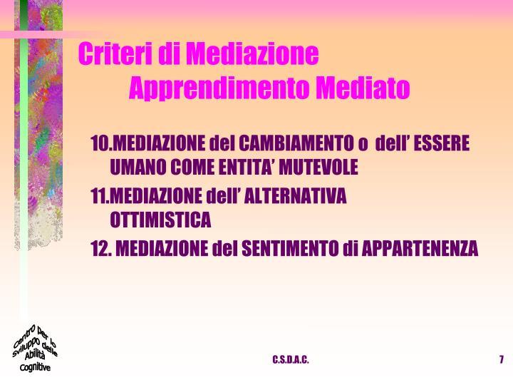 Criteri di Mediazione Apprendimento Mediato