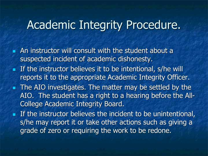 Academic Integrity Procedure.