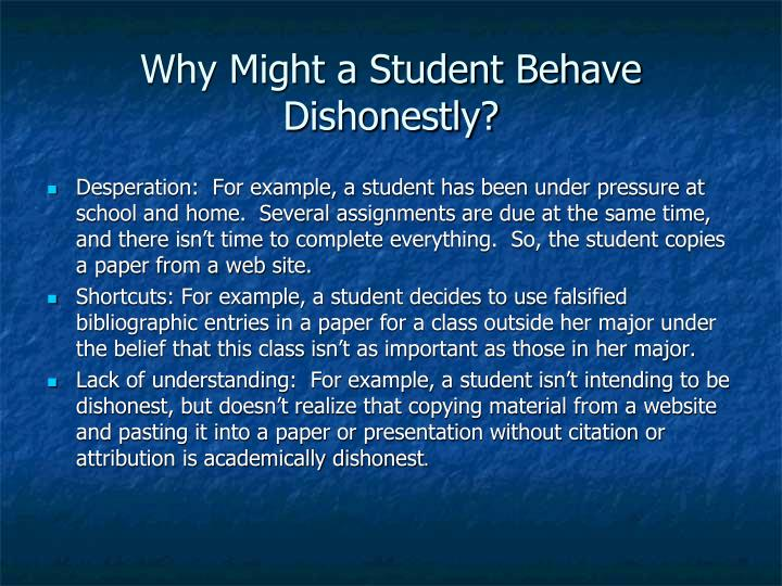 Why Might a Student Behave Dishonestly?