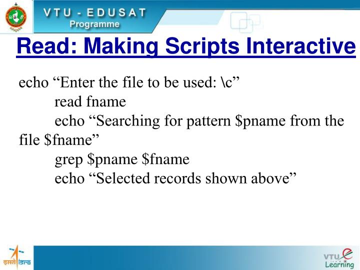 Read: Making Scripts Interactive