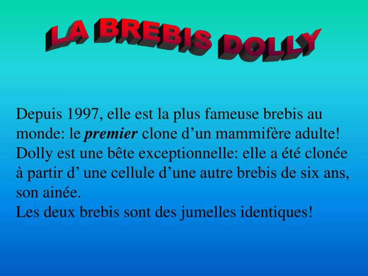 LA BREBIS DOLLY