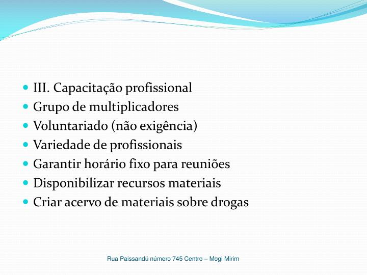 III. Capacitação profissional