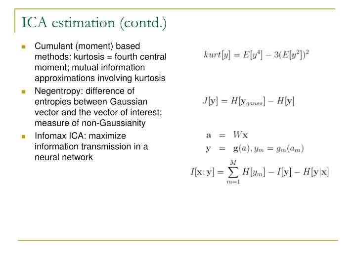 ICA estimation (contd.)