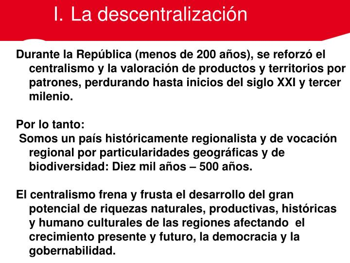 La descentralización