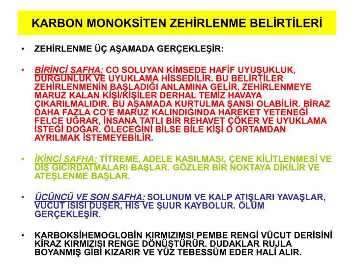 KARBON MONOKSİTEN ZEHİRLENME BELİRTİLERİ