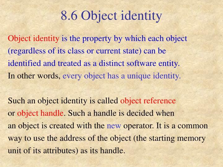 8.6 Object identity