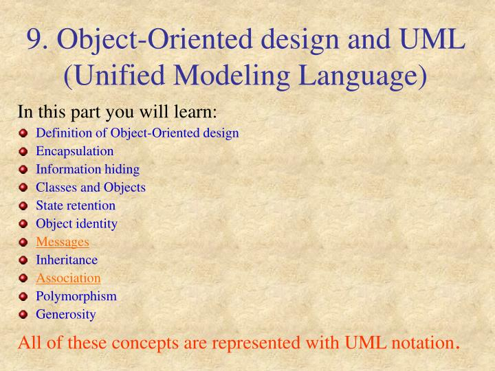 9 object oriented design and uml unified modeling language