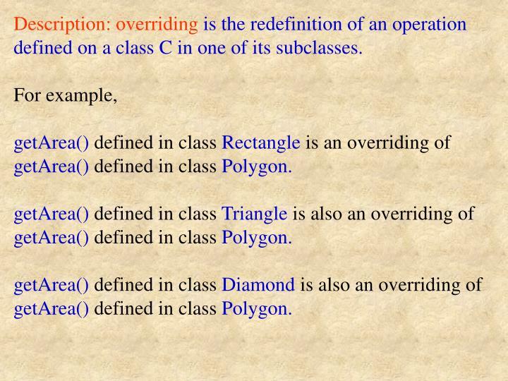 Description: overriding