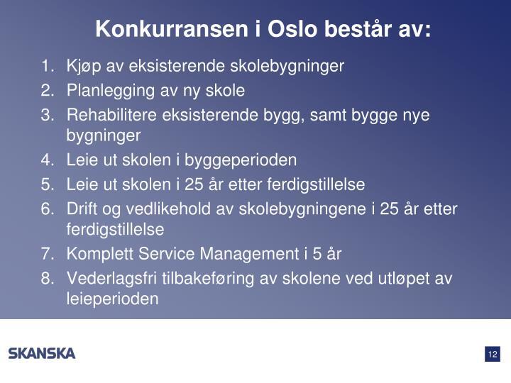 Konkurransen i Oslo består av: