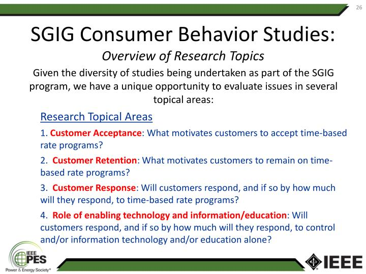 SGIG Consumer Behavior Studies: