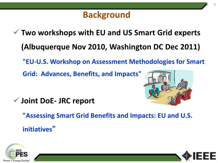 Two workshops with EU and US Smart Grid experts (Albuquerque Nov 2010, Washington DC Dec 2011)