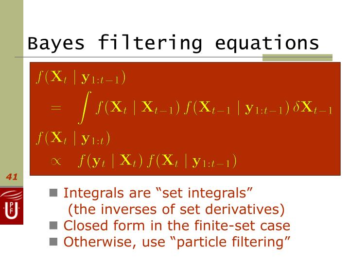 Bayes filtering equations
